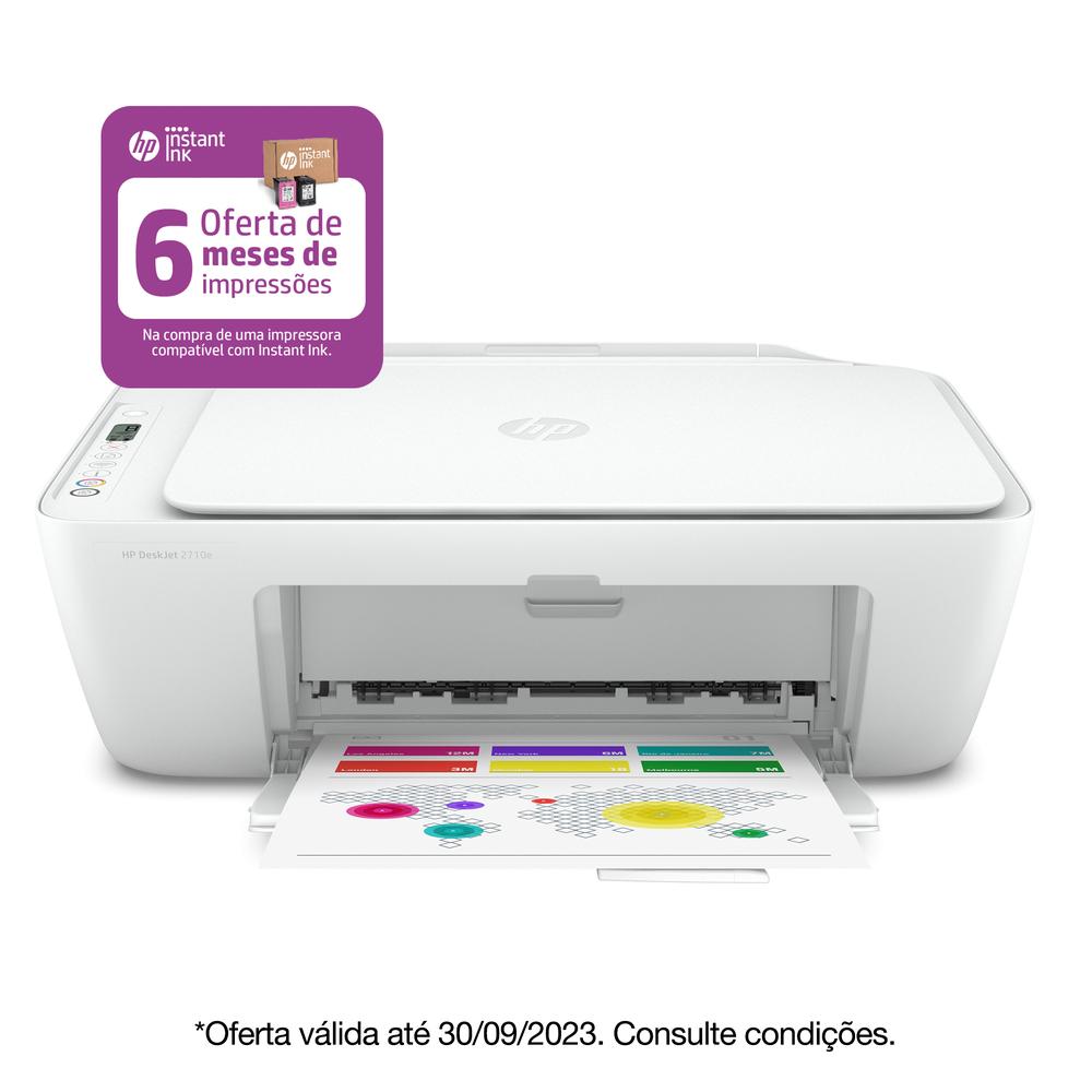 HP Multifunções Jato de Tinta Deskjet 2710e, A4, Wi-Fi