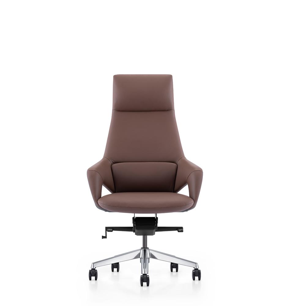 Cadeira de Executivo Hiram, Pele Genuína, Castanho