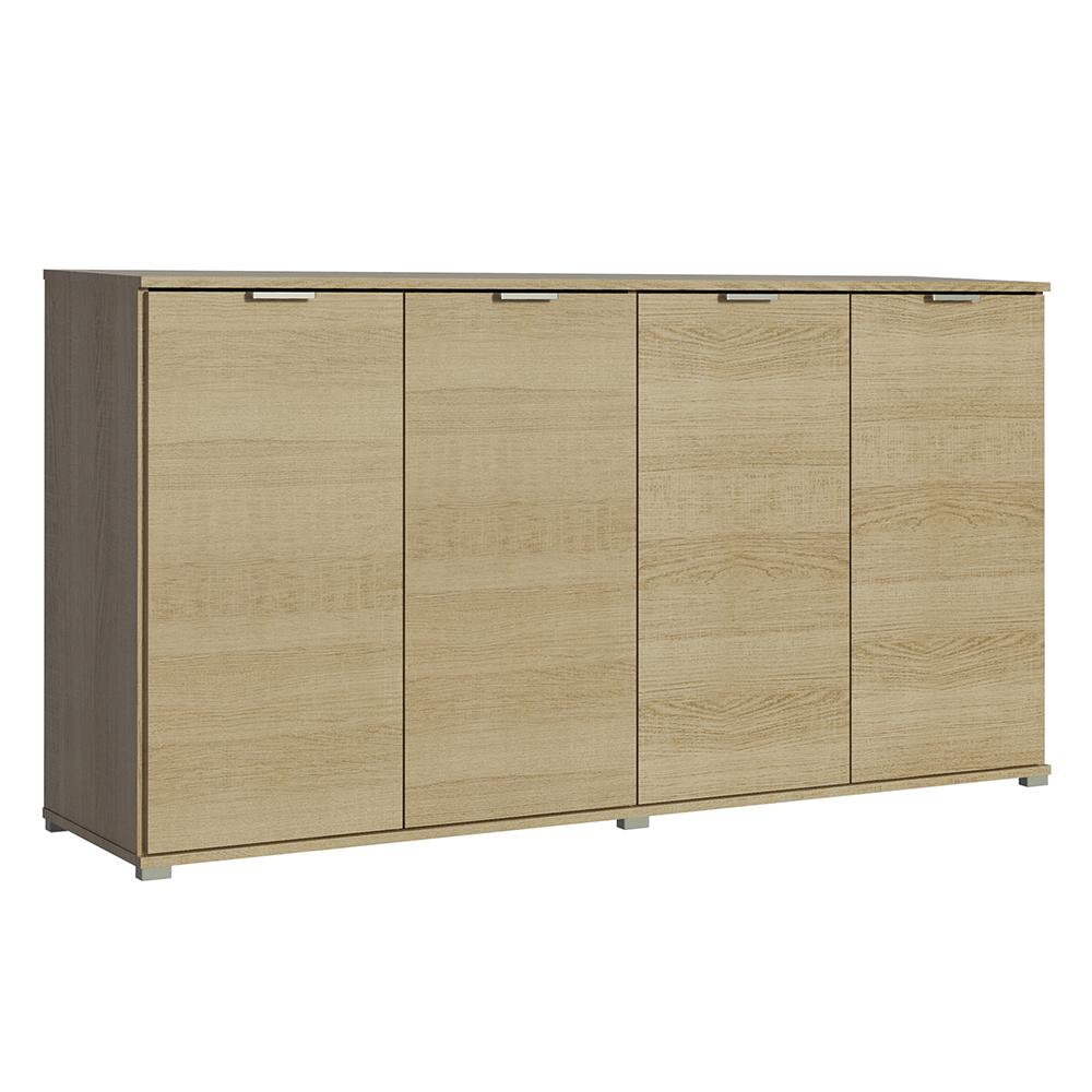 CSD Aparador Lyon 4 Portas, 160 x 81 x 40 cm, Aglomerado com Acabamento em Papel, Carvalho