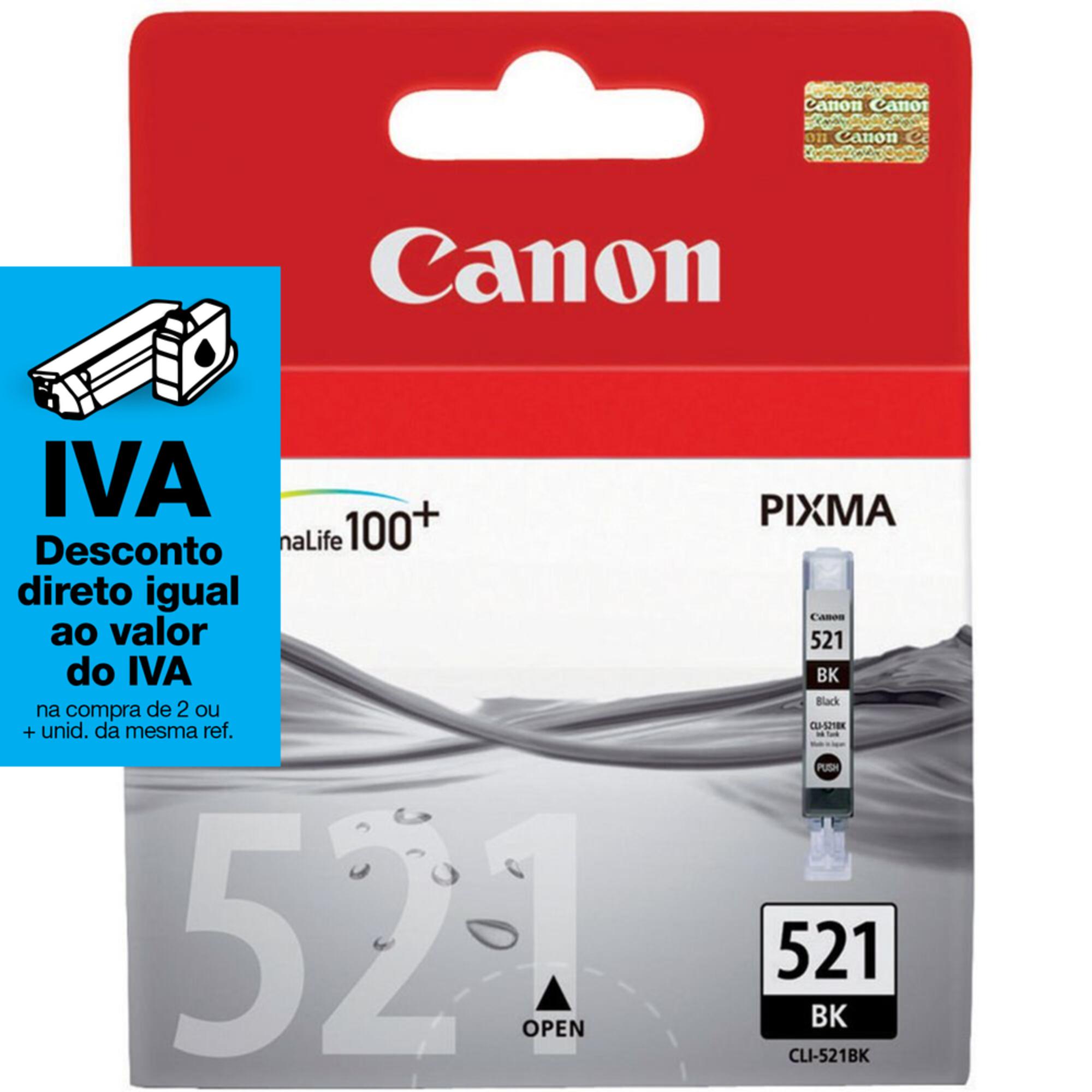Canon Tinteiro Original CLI-521 BK com Tinta ChromaLife 100+, Preto, Individual, 2933B008