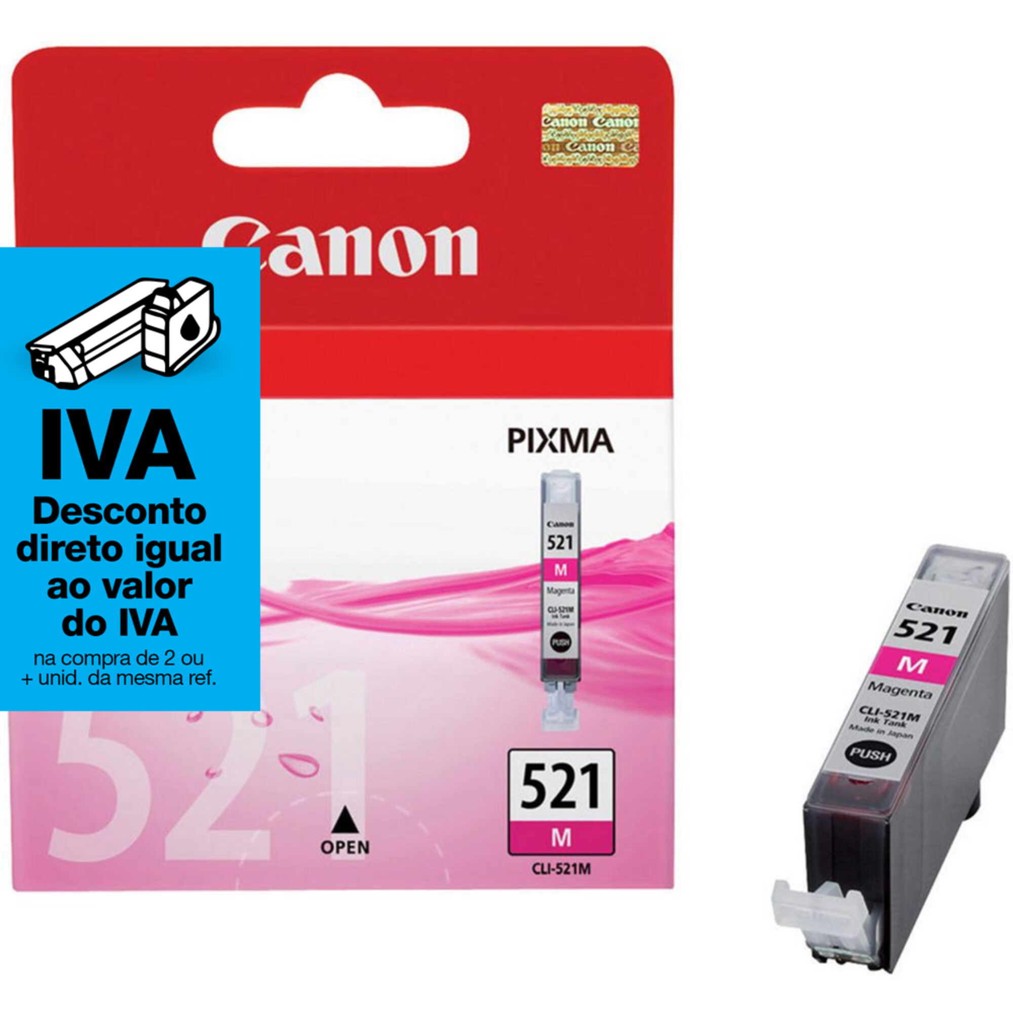 Canon Tinteiro Original CLI-521 M com Tinta ChromaLife 100+, Magenta, Individual, 2935B008