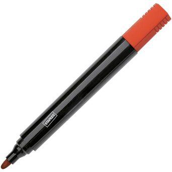 Staples Marcador Permanente Duramark™, Ponta Biselada 1 mm - 3 mm, Tecnologia de Tinta Líquida, Vermelho, 10 Unidades