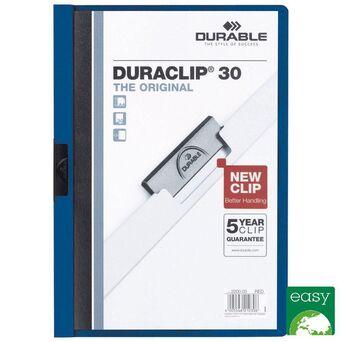 Durable Classificador com Clipe Duraclip® 30, A4, 30 Folhas, Azul com Capa Transparente