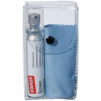 Staples Kit Limpeza de Ecrãs, Spray de 25 ml, Pano Microfibras