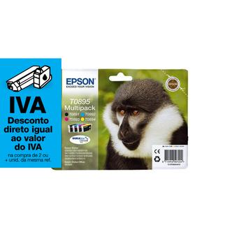 Epson Tinteiro Original Série Macaco T0895 Multipack com Tinta DURABrite Ultra, Amarelo, Azul Cyan, Magenta e Preto, Pack 4, C13T08954020