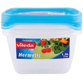 vileda Caixa Hermética Quadrada Freshmatic, 1,3 l, Azul, 3 Unidades