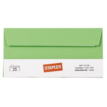 Staples Envelope Decorativo, DL, 110 x 220 mm, Autocolante, Verde
