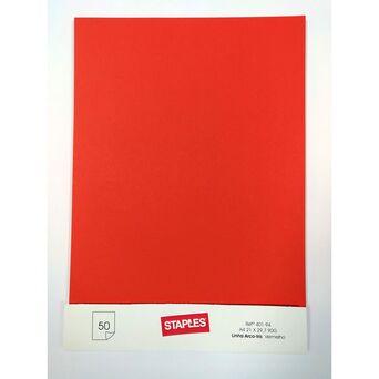 Staples Folha Design, 21 x 29,7 cm, Vermelho, 50 Unidades