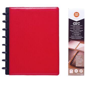 M by Staples ARC Caderno Inteligente, A5, 60 Folhas, Pautado, 100 g/m², Capa em Pele, Vermelho