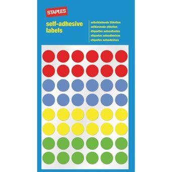 Staples Etiquetas Autocolantes, Redondas, 48 Etiquetas por Folha, 12 mm, 4 Cores Variadas