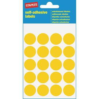Staples Etiquetas Autocolantes, Redondas, 20 Etiquetas por Folha, 19 mm, Amarelo