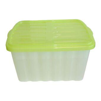 CLI Caixa de Arrumação Multiusos, 30 L, Transparente com Tampa Verde