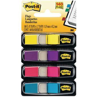 Post-it Separadores de índice pequenos, 11,9 x 43,1 mm, cores sortidas, 4 embalagens de 35, com dispensadores 683-4AB