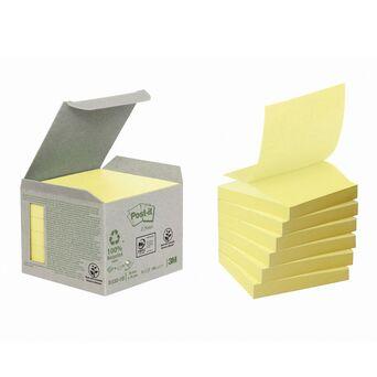 Post-it Minitorre de Z-Notes Aderentes em Papel Reciclado, 76 x 76 mm, Amarelo, 100 Folhas