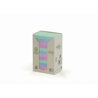 Post-it Torre de Notas Aderentes em Papel Reciclado, 38 x 51 mm, Cores Sortidas da Coleção Pastel Rainbow, 100 Folhas
