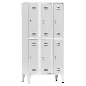 Vestiário 6 Cacifos Sobrepostos, 90 x 190 x 50 cm, Corpo Cinzento, Portas Cinzentas, Fechadura Tipo 6