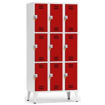 Vestiário 9 Cacifos Sobrepostos, 90 x 190 x 50 cm, Corpo Cinzento, Portas Vermelhas, Fechadura Tipo 2