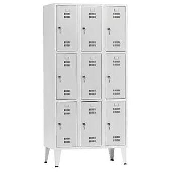 Vestiário 9 Cacifos Sobrepostos, 90 x 190 x 50 cm, Corpo Cinzento, Portas Cinzentas, Fechadura Tipo 6
