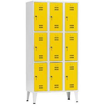 Vestiário 9 Cacifos Sobrepostos, 90 x 190 x 50 cm, Corpo Cinzento, Portas Amarelas, Fechadura Tipo 6