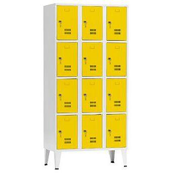 Vestiário 12 Cacifos Sobrepostos, 90 x 190 x 50 cm, Corpo Cinzento, Portas Amarelas, Fechadura Tipo 6