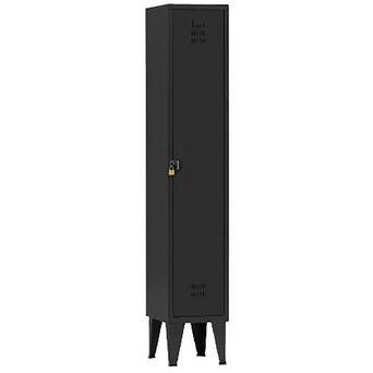 Vestiário Simples NP-1116A, 30 x 190 x 50 cm, Corpo Preto, Porta Preta, Fechadura Tipo 2
