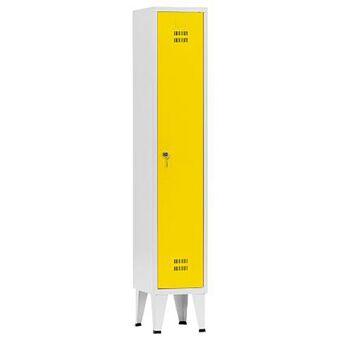 Vestiário Simples NP-1116A, 30 x 190 x 50 cm, Corpo Cinzento, Porta Amarela, Fechadura Tipo 6