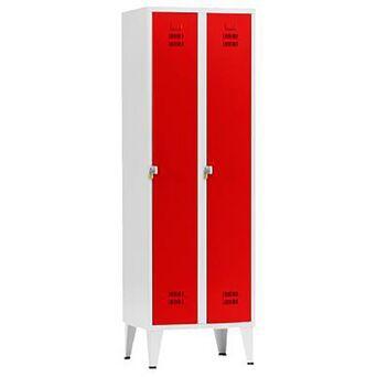 Vestiário Duplo NP-1116A, 60 x 190 x 50 cm, Corpo Cinzento, Portas Vermelhas, Fechadura Tipo 2