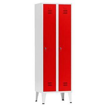 Vestiário Duplo NP-1116A, 60 x 190 x 50 cm, Corpo Cinzento, Portas Vermelhas, Fechadura Tipo 6
