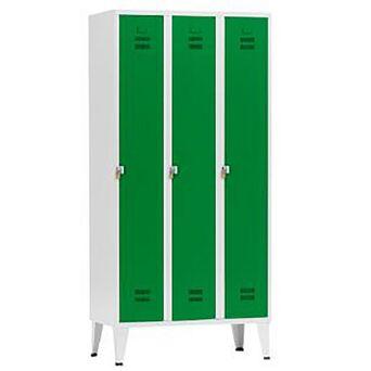 Vestiário Triplo NP-1116A, 90 x 190 x 50 cm, Corpo Cinzento, Portas Verdes, Fechadura Tipo 2