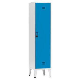 Vestiário Simples NP-1116B, 45 x 190 x 50 cm, Corpo Cinzento, Porta Azul, Fechadura Tipo 11