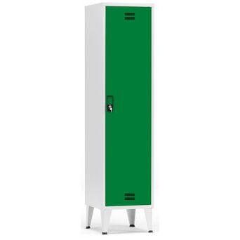 Vestiário Simples NP-1116B, 45 x 190 x 50 cm, Corpo Cinzento, Porta Verde, Fechadura Tipo 11