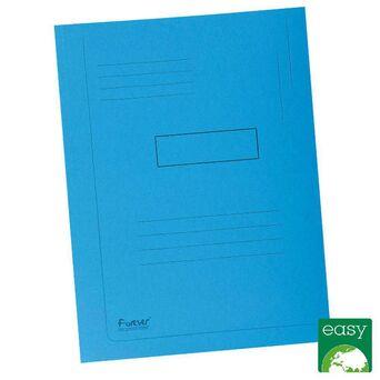 EXACOMPTA Pasta de 2 abas Forever® com linhas impressas, 200 folhas A4, 240 x 320 mm, cartão reciclado azul