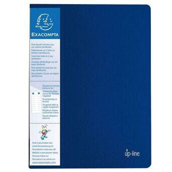 EXACOMPTA Livro de apresentação Up-line, A4, 20 bolsas transparentes cristalinas, suporte de etiquetas com 3 lados, capa forte de polipropileno reciclado, azul