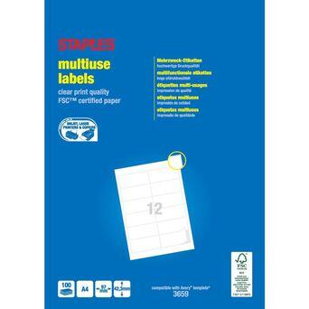 Staples Etiquetas Multiusos, 12 Etiquetas por Folha, 97 mm x 42,3 mm, Branco