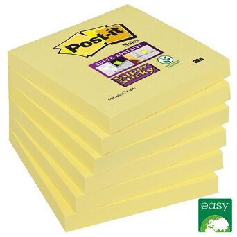 Post-it Bloco Super Sticky 76 x 76 mm, Canary Yellow™, Pack 6, 90 folhas