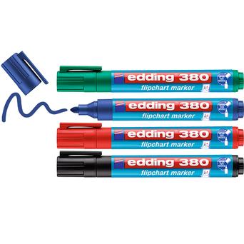 edding Marcador para flipchart 380 com ponta arredondada de 1,5 - 3 mm, cores sortidas, embalagem de 4