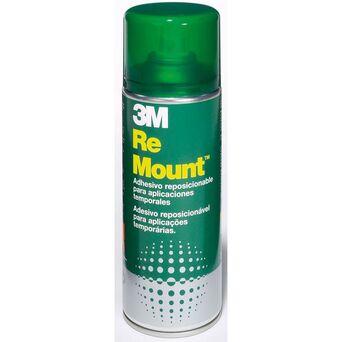 3M Spray de Cola ReMount, Lata de Spray de Aerossol de 400 ml, Cola Não Permanente, Transparente