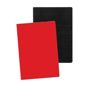 Staples Caderno Agrafado, A5, 80 Folhas, Pautado, Preto e Vermelho