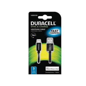 DURACELL Carregador de Smartphones e Tablets Lightning - USB A, Preto
