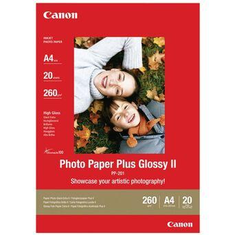 Canon Plus Glossy II Papel Fotográfico para Jacto de Tinta A4 Brilhante 275 g/m² Branco 20 Folhas