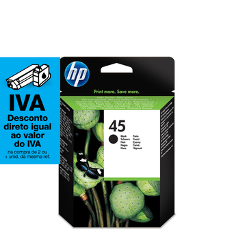 HP Tinteiro Original 45, Preto, Embalagem Individual, 51645AE#301