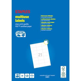 Staples Etiquetas Multiusos, 21 Etiquetas por Folha, 70 mm x 41 mm, Branco