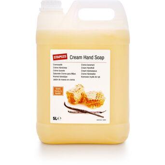 Staples Sabão para as mãos em creme hidratante, Baunilha e mel, amarelo, recarga de 5 l