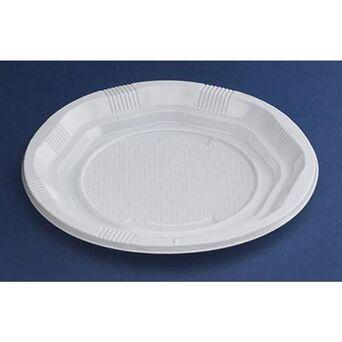 NUPIK Pratos octogonais em plástico descartável, branco, 165 mm, embalagem de 25