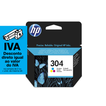 HP Tinteiro original 304 de alta capacidade, tricolor, pacote único, N9K05AE#UUS