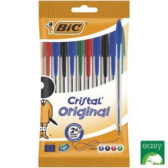 BIC Esferográfica Cristal® Stick, Ponta Média de 1 mm, Corpo Transparente, Tinta de Várias Cores: Preto, Azul, Vermelho e Verde