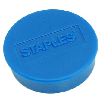 Staples Íman redondo azul de 25 mm, capacidade de fixação de 8 folhas, embalagem de 10 unidades