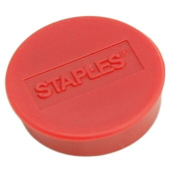Staples Íman redondo vermelho de 25 mm, capacidade de fixação de 8 folhas, embalagem de 10 unidades