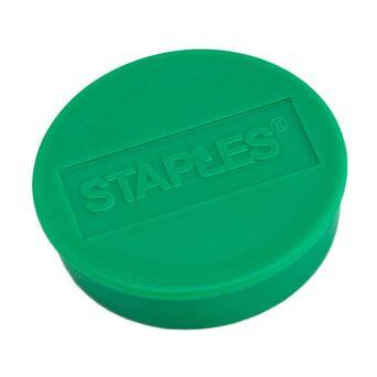 Staples Íman redondo verde de 35 mm, capacidade de fixação de 15 folhas, embalagem de 10 unidades