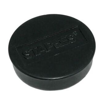 Staples Íman redondo preto de 35 mm, capacidade de fixação de 15 folhas, embalagem de 10 unidades